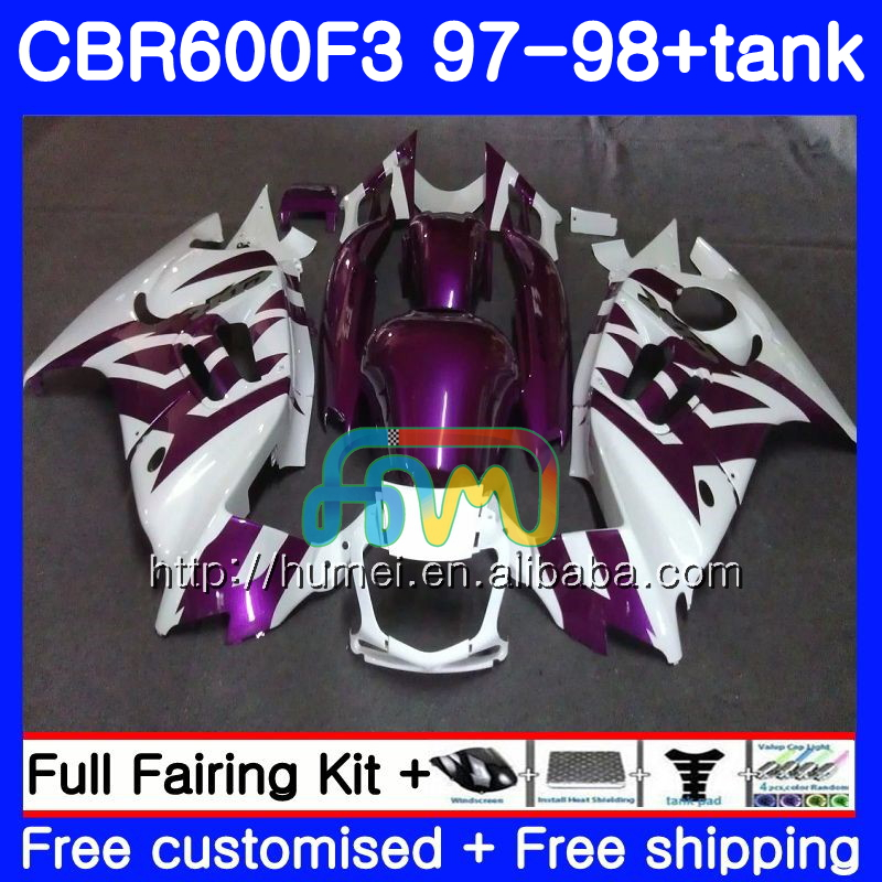 Body kit For HONDA CBR600RR F3 CBR 600F3 CBR600FS 14HM57 Purple white CBR 600 F3 FS CBR600F3 97 98 CBR600 F3 1997 1998 Fairing