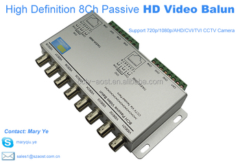 AOST 8 channels HD passive video balun transmitter for AHD/TVI/CVI /CVBS 720P1080P security camera