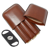 Factory Direct Supply Brown Leather Cigar Humidor Cigar Case Holder 3 Cigars With Cutter
