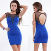 New Arrival Sleeveless Key Hole Beaded Jersey Royal Blue Cocktail Dresses