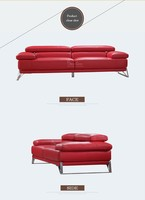italy top grain leather sofa modern sofa in red