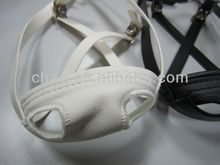 white and black helmet chin straps with soft leather support