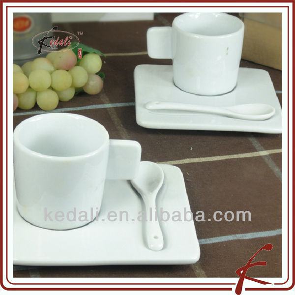 ceramic plain white coffee cups and saucer