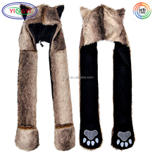 F364 3-in-1 Multi-functional Animal Hat Scarf Mitten Combo Wolf Funny Adult Animal Winter Hats