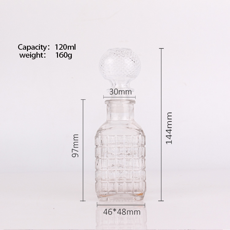 120ml clear empty glass bottle square with glass cork for wine beer wholesale