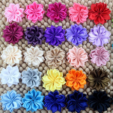 solid color wholesale making satin ribbon handmade flowers for baby headbands