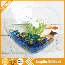 Wall hanging clear plexiglass glass plastic office mini aquarium fish tank for malaysia japanese india