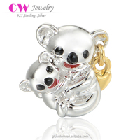 High Quality New Design 925 Silver China Bears Mother And Son Animal Pet Charms