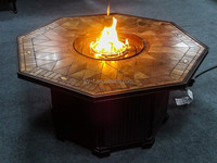 outdoor gas fire pit table with ceramic tiles with PE rattan for indoor and outdoors