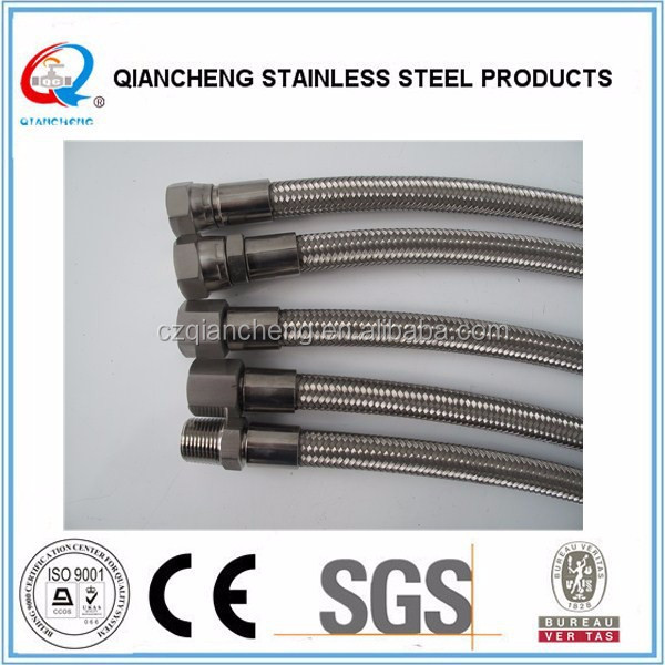 stainless steel wire braiding PTFE teflon hose with crimp fitting