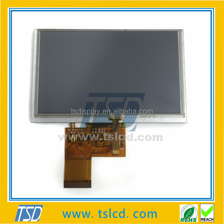 High brightness 5 inch 800x480 tft lcd display with 4wires RTP