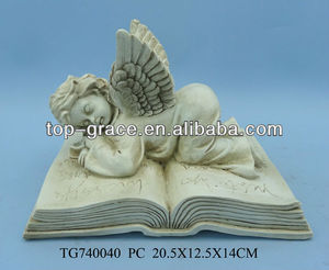 Polyresin crafts Garden Cupid angel statues book