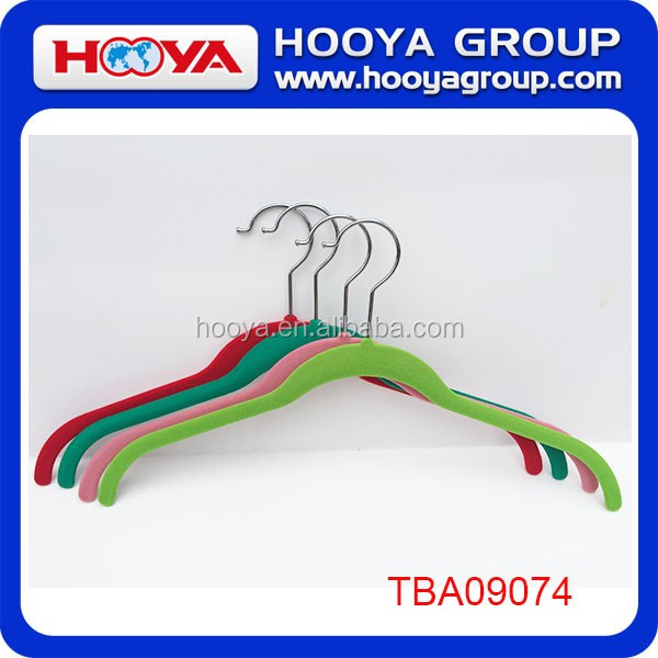 New Arrival ABS Plastic Velvet Hanger for Dresses/Suits With Notches Black as Customized Color