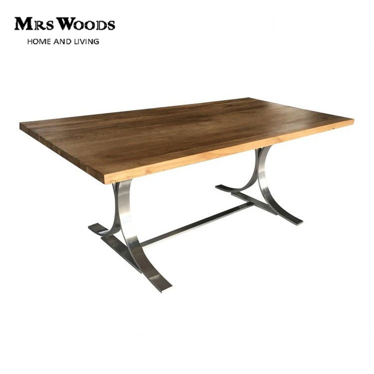 Mrs Woods Reclaimed wood stainless steel leg industrial furniture table