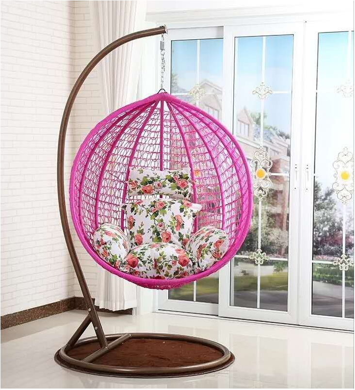 Fashion Garden Furniture Wicker Rattan Egg Hanging Indoor Swing Chair with Stand