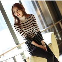 Korean style ladies clothing print design knitwear new fashion stripe blouse