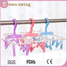Plastic Foldable Portable Underwear Hanging Dryer Clothes Drying Hanger Rack With 10 Clips