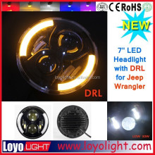 7'' high low beam jeep halo head light yellow ring led headlight for jeep