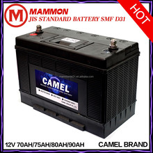 Camel brand JIS Standard smf car battery 12V 70AH 75AH 80AH 90AH wholesale
