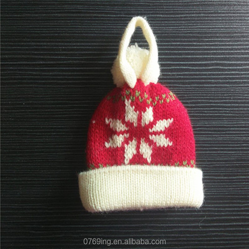 Mini Small Knitted Hat Littel Cap Decoration Toy's Red Christmas Hat With Pompom