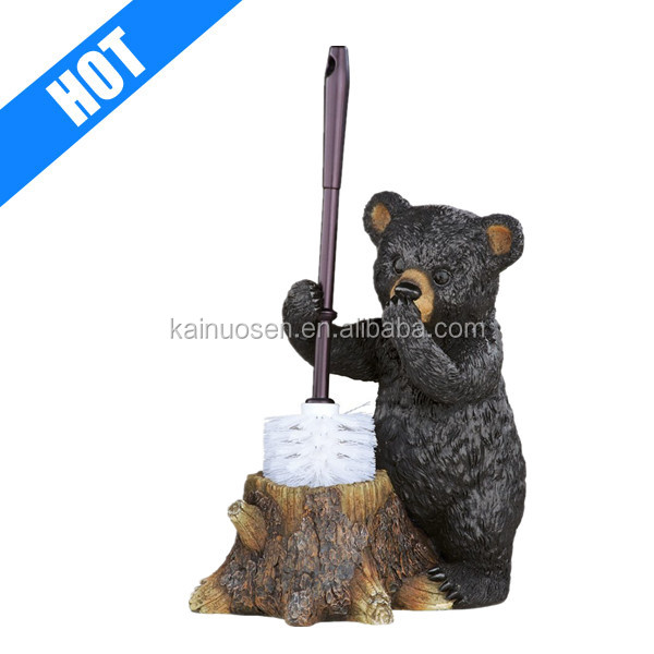 customized polyresin bear shaped novelty toilet brush holders
