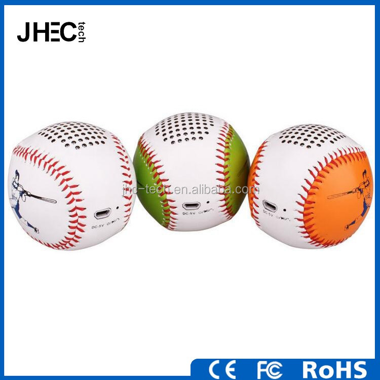 New gadgets feahther baseball shaped mini bluetooth music angel speaker with memory sd card