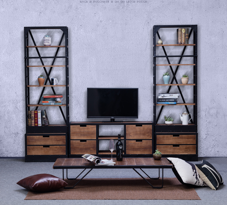 industrial loft style living room furniture TV cabinet and shelf ,custom made size and design