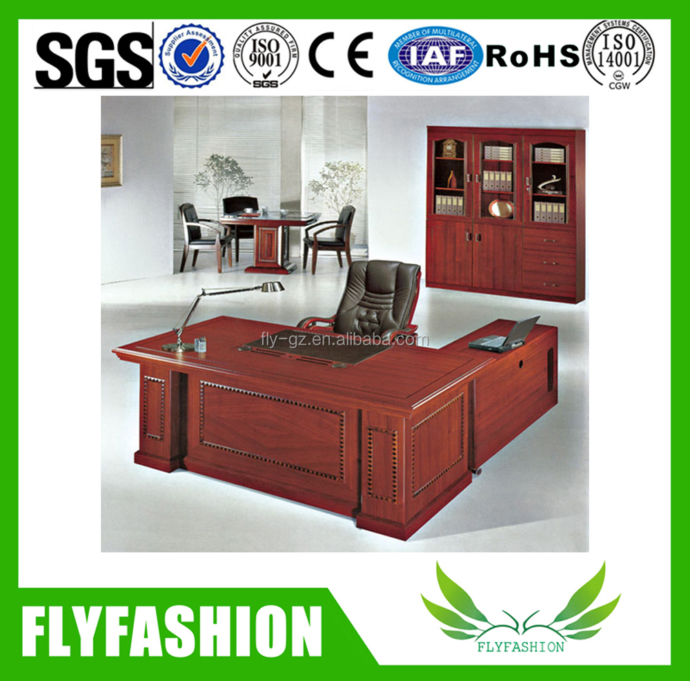 Classic Wooden Office Furniture L shape Executive Desk with Moving Side table and Drawers
