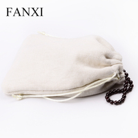 FANXI Multiple Handmade Velvet Inside Linen Ring Bangle Necklace Jewelry Pouch Gift Package Storage Bags Linen Jewelry Bag
