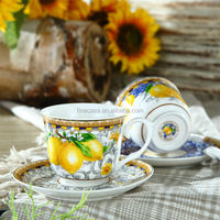 250CC Elegant Fine New Bone China Bulk Tea Cup and Saucer of Lemon Fragrance