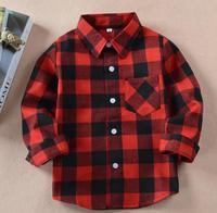 cheap custom logo boys kids western classic tartan plaid checked london blouse shirts