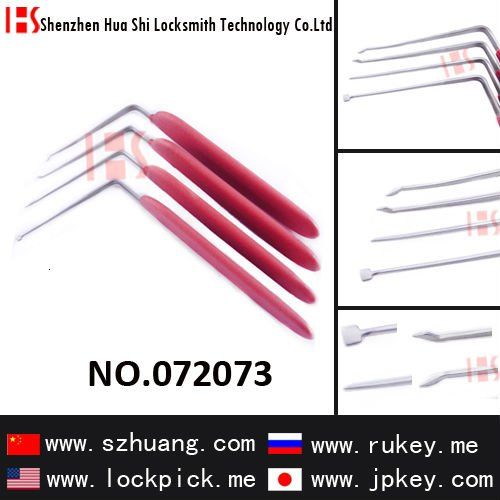 High-quality locksmith tools lockpicks for L-type unlocking needles(4 pcs) with anti-skid handle / 072073
