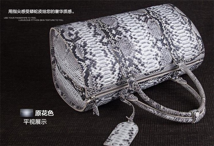 Updated new fashion mens genuine python snake skin leather weekend travel duffle bag_9