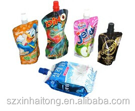 Popular cheap price liquid stand up pouch with spout for fruit juice