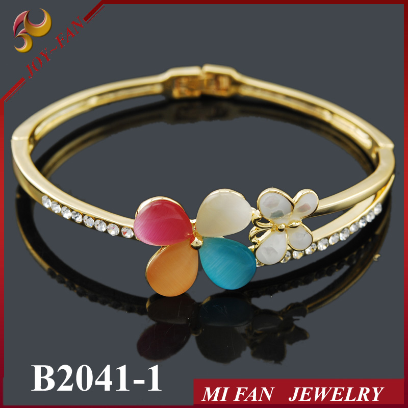 Gold plated alloy bangle immitation jewelry with opal stone