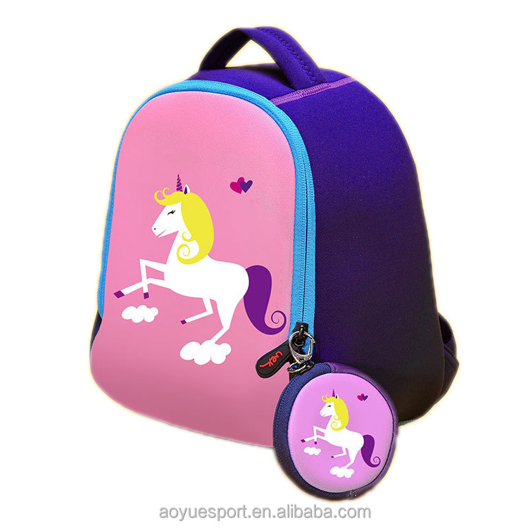 2017 Kawaii Animal Cartoon Neoprene Kids School Bags Of Latest Designs For Children