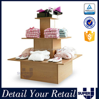 promotional 3 tier wooden clothes store display item