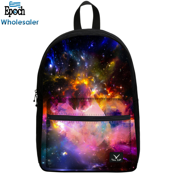Custom 2018 hot product starry sky canvas high class student school bag with side pocket