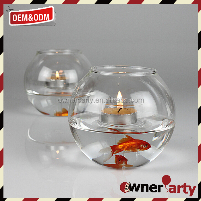 Low Price Glass Fish Tank Shaped Floating Candle Holders
