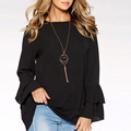 Clothes Women Ladies Frill Long Sleeve Blouse Designs