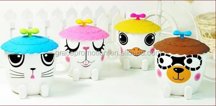 2014 fashion cute cartoon style cat children ceramic coffee <strong>cup</strong> with silicone cover for drinking
