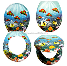 Undersea 3D Tropical Fish Toilet Seats Lid Covers In Duroplast Material With Soft Slow Close Closing Damper