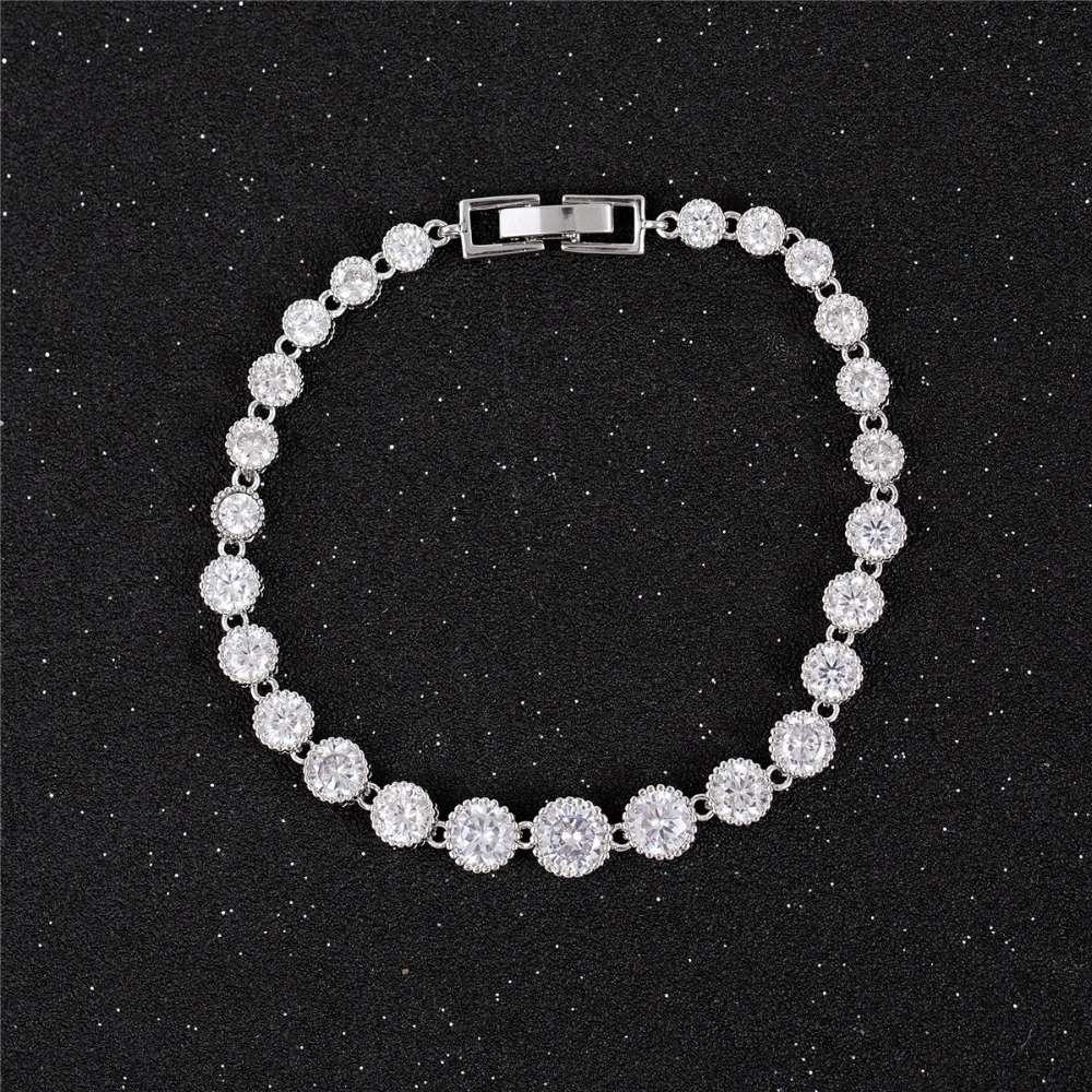 Hot Sales Round Circle Crystal Zircon Stone Charm Copper bracelet For Women
