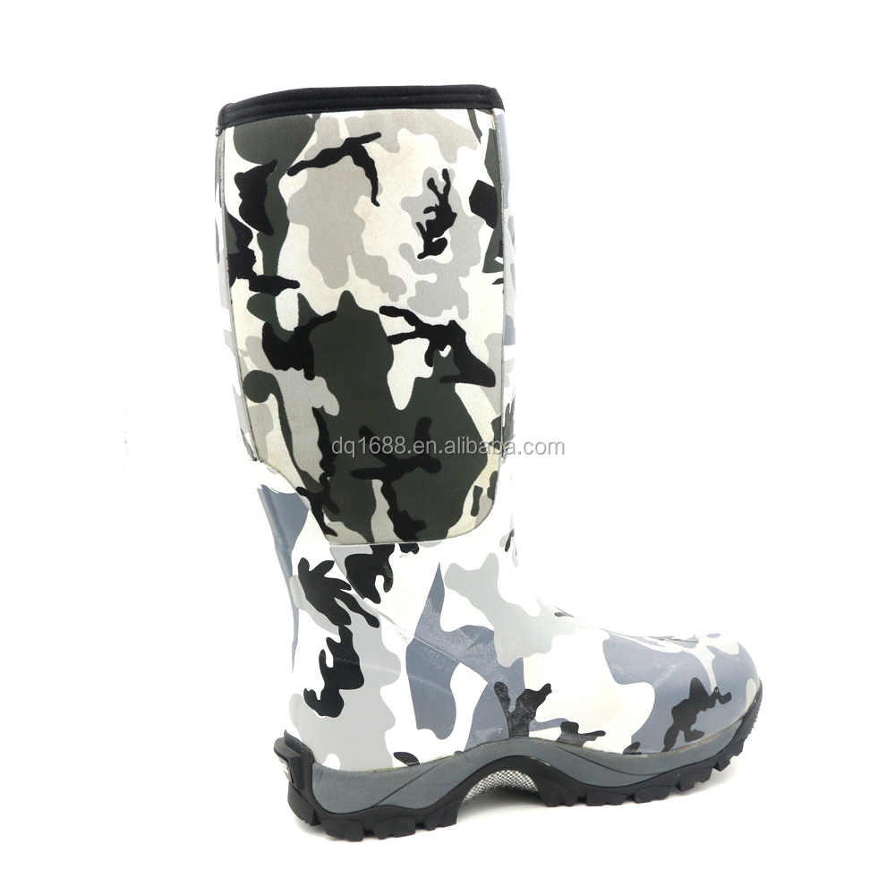 Men's winter snow boots printed knee high neoprene rubber hunting boots