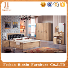 Latest designs furniture MDF Turkey Bedroom Set with leather Bed
