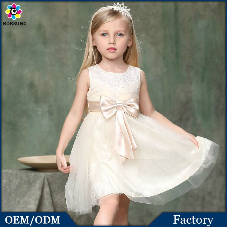 2015 summer kids new style cotton beaded pure color casual clothes white gauze baby princess girl first communion dress