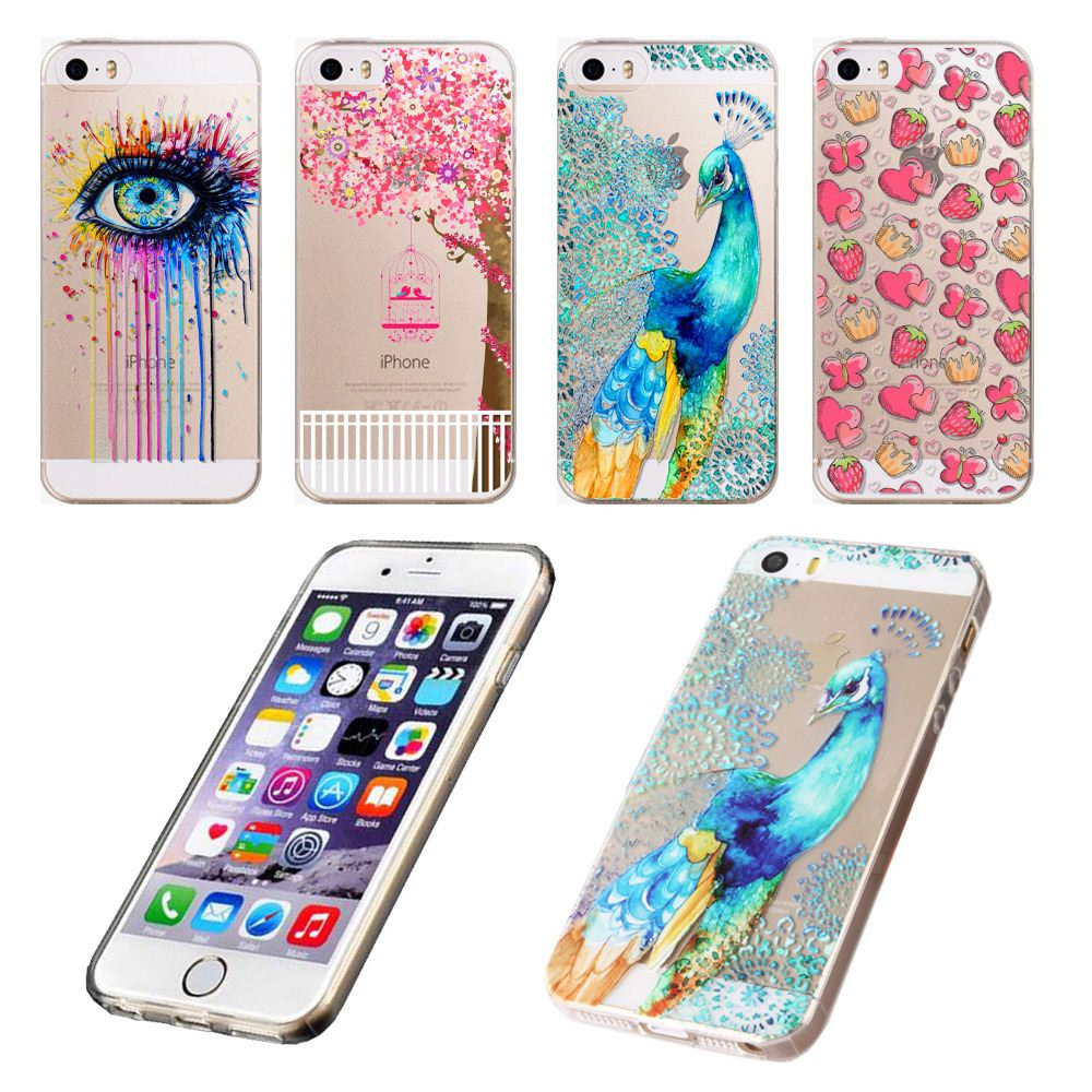 Phone Case For iPhone 4 4S 5 5S SE 5C 6 6s 6Plus Printed Peacock Flowers Fruit Ultra Thin Soft Silicon TPU Back Skin