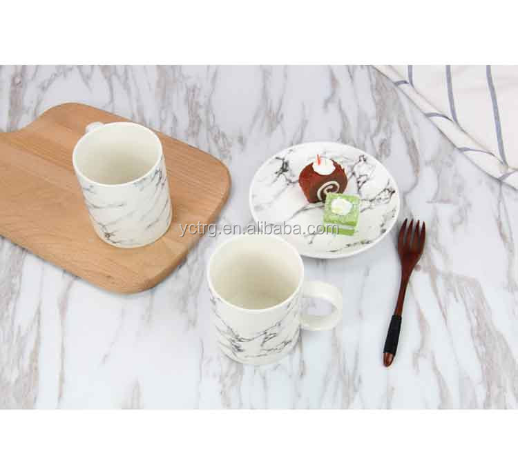 Fashion white/black marble texture porcelain coffee mugs