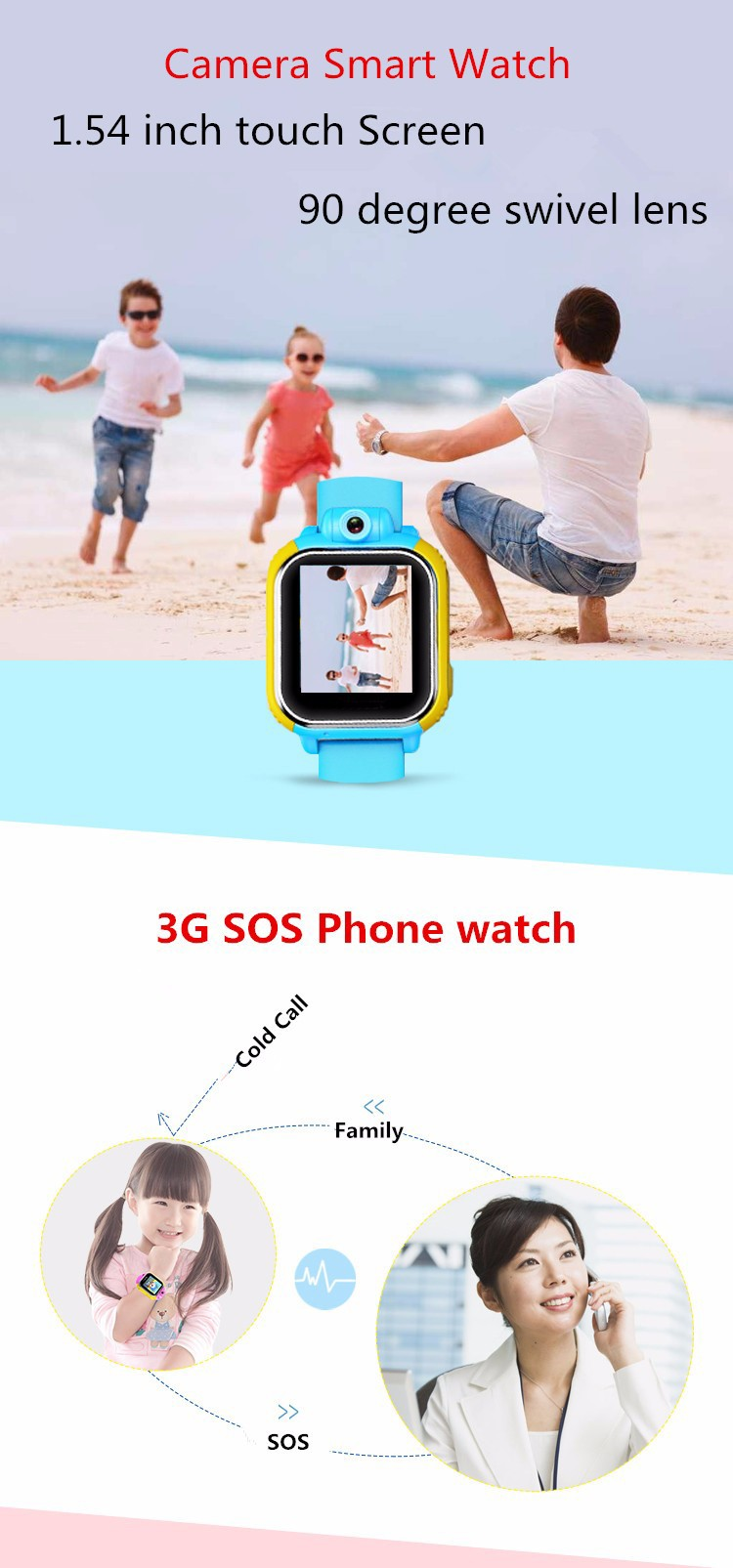 TD-07 1.54 INCH touch screen android 4.2 smart watch gps, kids gps smart watch