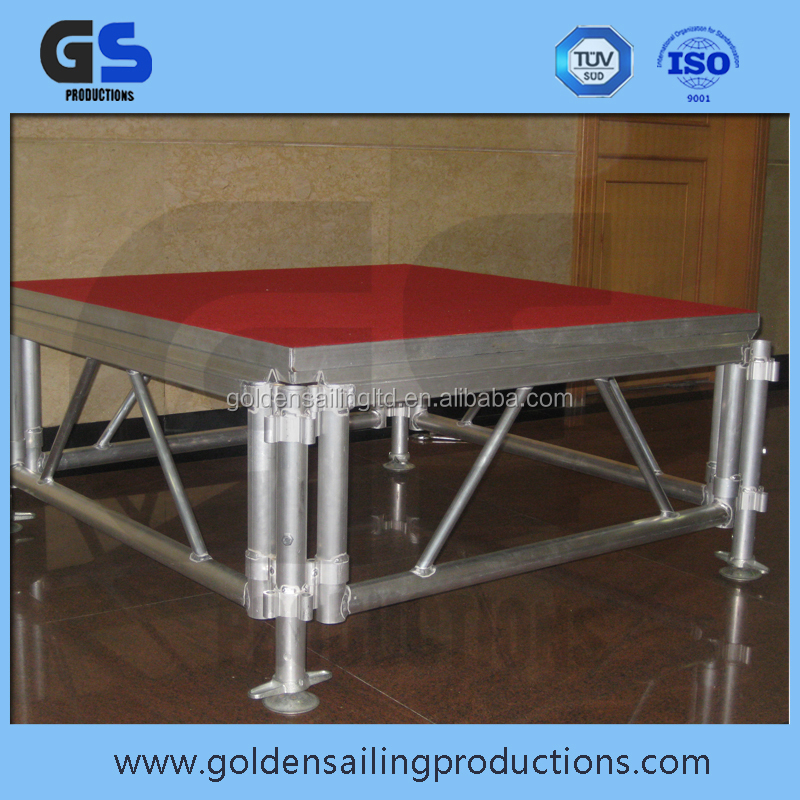 Aluminum frame stage with adjustable legs performance